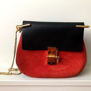 CHLOE DREW BLACK LEATHER PLAID RED SUEDE SMALL SHO